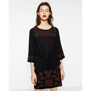 NWOT Zara Size XS Embroidered Knot Blouse